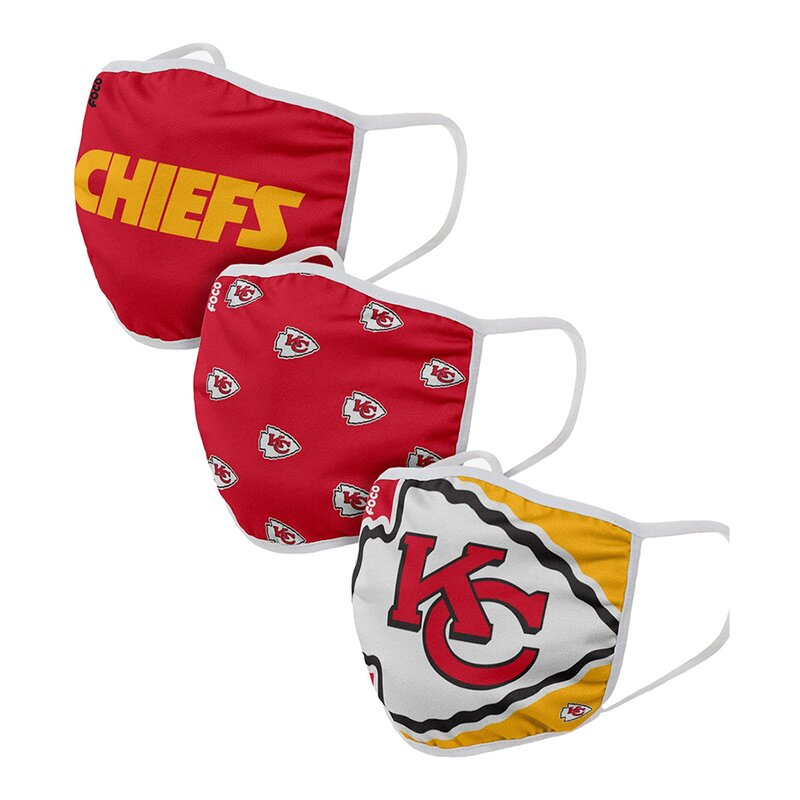 NFL Face Covers, Mund Nase Masken, 3er-Pack - Kansas City Chiefs