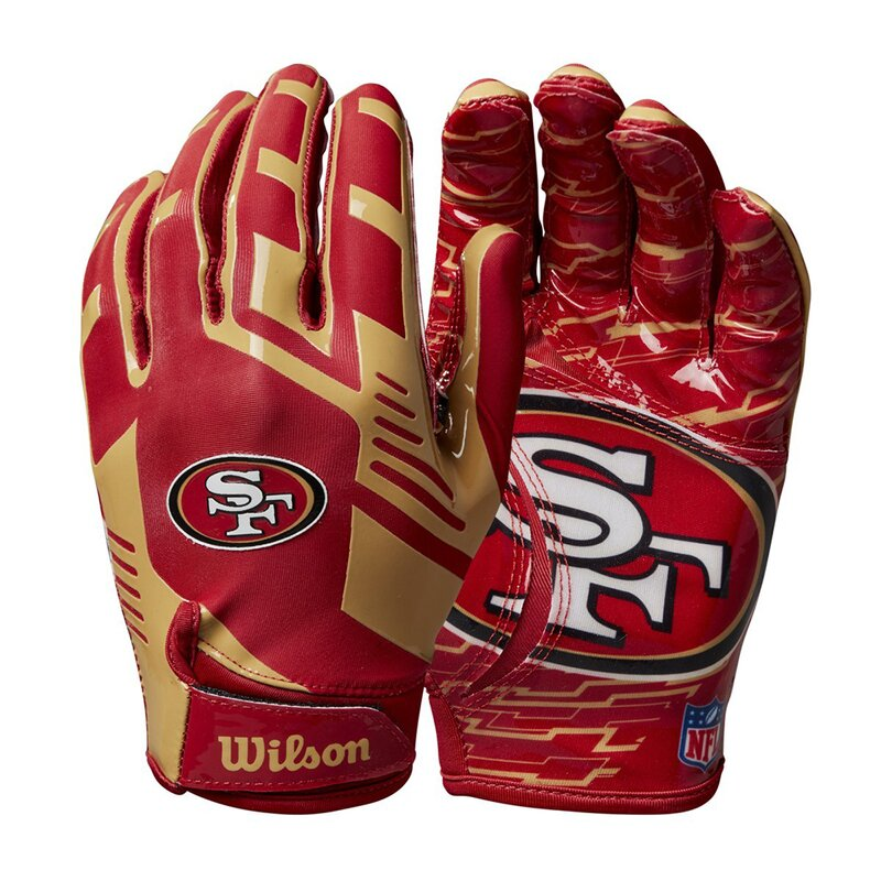 Wilson NFL Stretch Fit Youth Receiver Handschuhe Team San Francisco 49ers